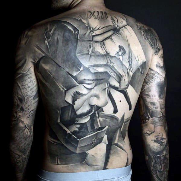 cb393e26c6fd8 Broken Cracked Grey Warrior With Helmet Tattoo Male Full Back