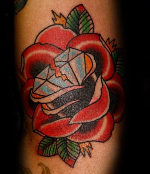 50 Traditional Diamond Tattoo Designs For Men , Jewel Ink Ideas