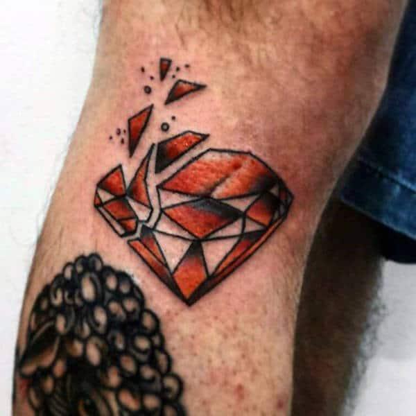 Broken Diamond Shattered Tattoo On Mans Forearm