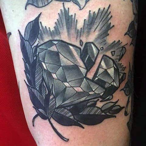 Broken Diamond Shattered With Peices Mens Bicep Tattoo