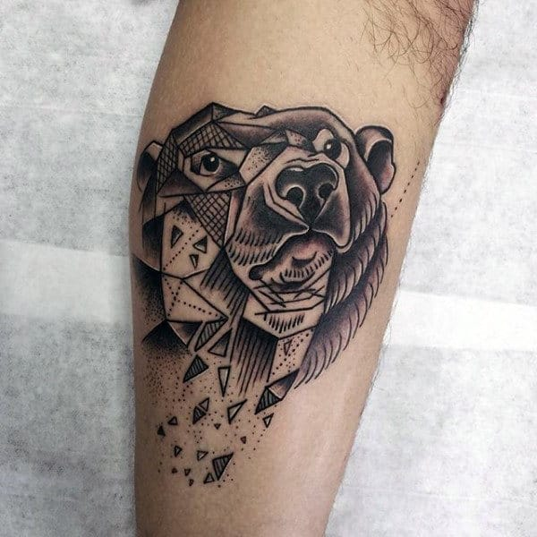 Broken Geometric Bear Mens Forearm Tattoo