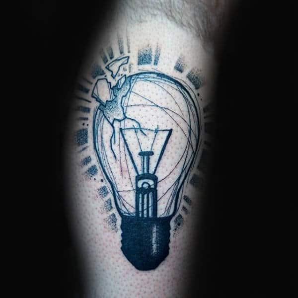 Broken Glass Mens Light Bulb Tattoo On Legs