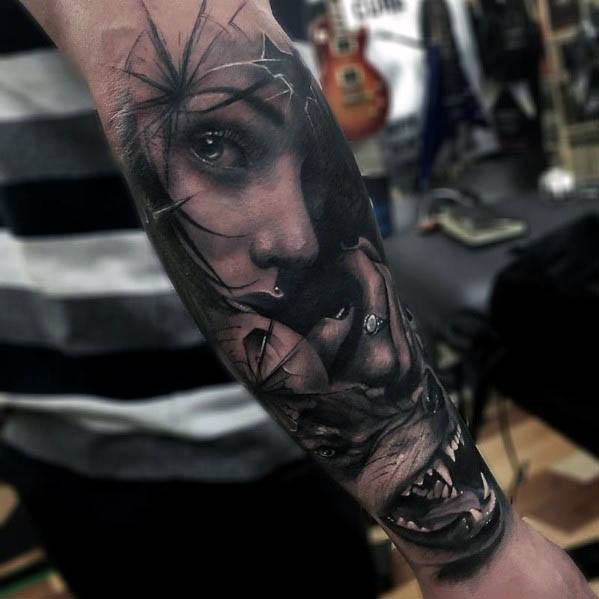 Broken Glass Outer Forearm Female Portrait Guys Tattoo Ideas