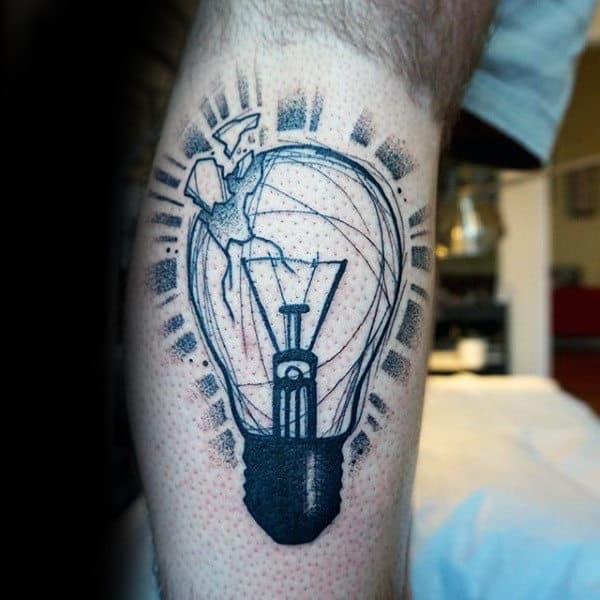 Broken Glass Shards From Light Bulb Dotwork Tattoo Guys Forearm