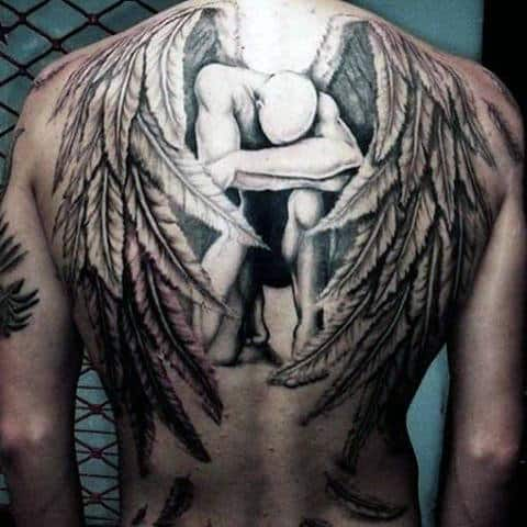 Broken Guardian Angel Tattoo Males Full Back