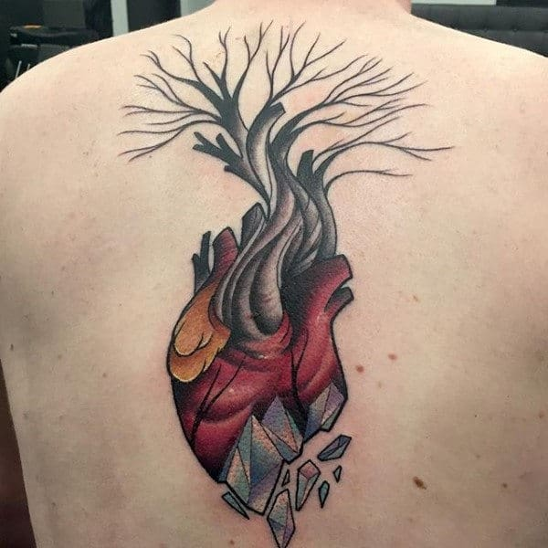 Broken Heart Tree Abstract Back Tattoos For Men