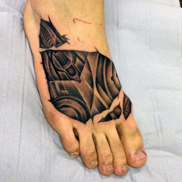 Broken Images Tattoo On Foot For Men