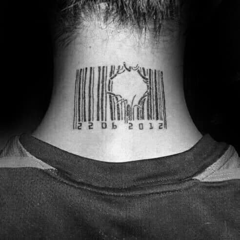 Broken Lines Barcode Neck Tattoos For Males