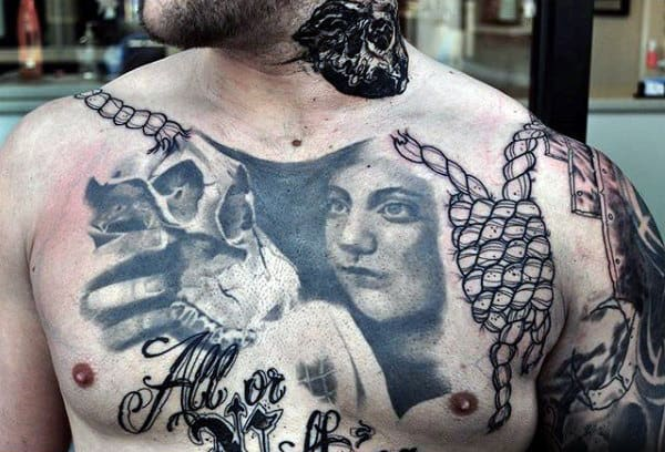 Broken Noose Mens Chest Tattoos