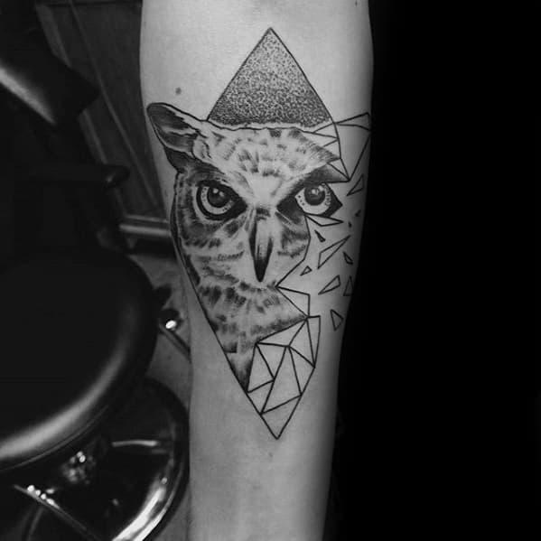 Broken Owl Guys Geometric Tattoo Inspiration On Forearm