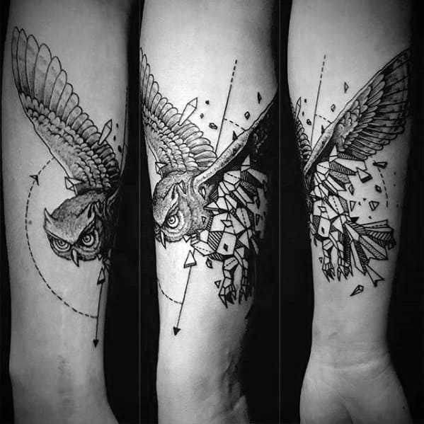 Broken Owl Mens Geometric Forearm Tattoos