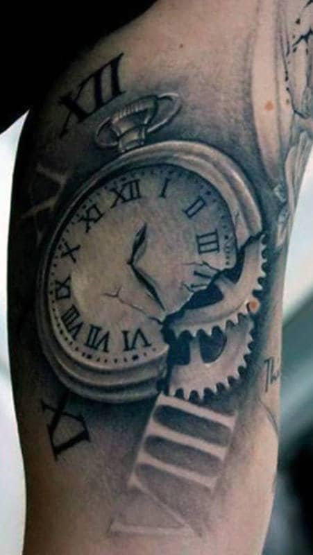 Broken Pocket Watch With Movement Gears Guys Roman Numeral Inner Arm Negative Space Tattoo Designs