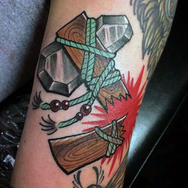 Broken Snapped Wood Tomahawk With Teal Rope Cord And Stone Axe Head Tattoo For Men