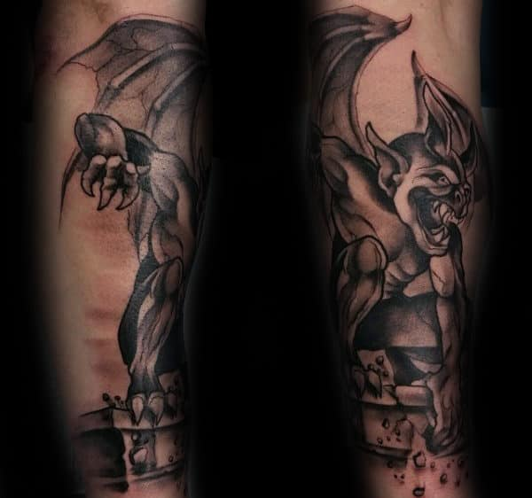 Broken Stone Outer Forearm Gargoyle Mens Tattoos