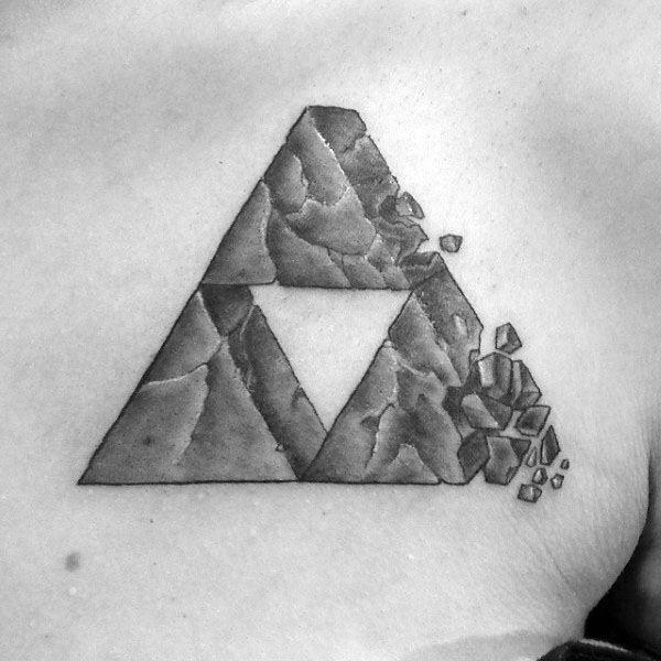 Broken Stone Triforce Mens 3d Chest Tattoo Ideas