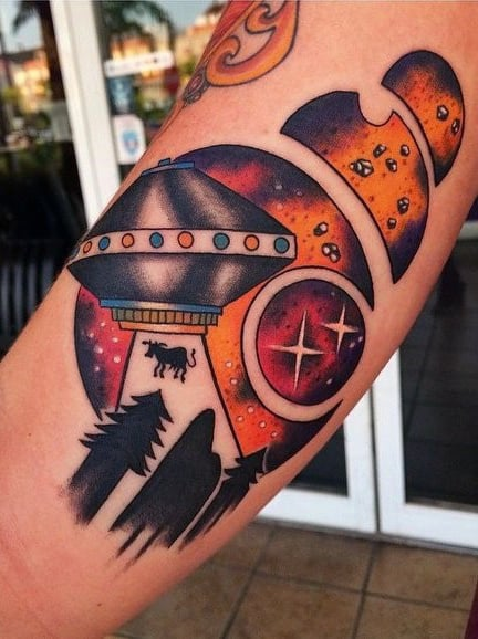 Bronze Colored Amazing Ufo And Cow Tattoo Mens Forearms