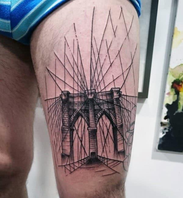 Brooklyn Bridge Mens Manly Thigh Tattoos