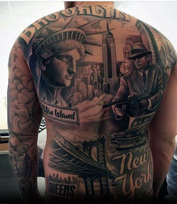 Brooklyn New York Themed Mens Badass Back Tattoos