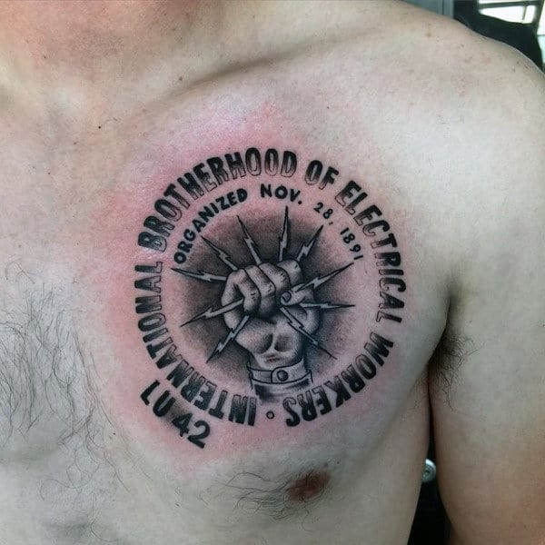 Brotherhood Of Electrical Workers Lineman Mens Upper Chest Tattoos