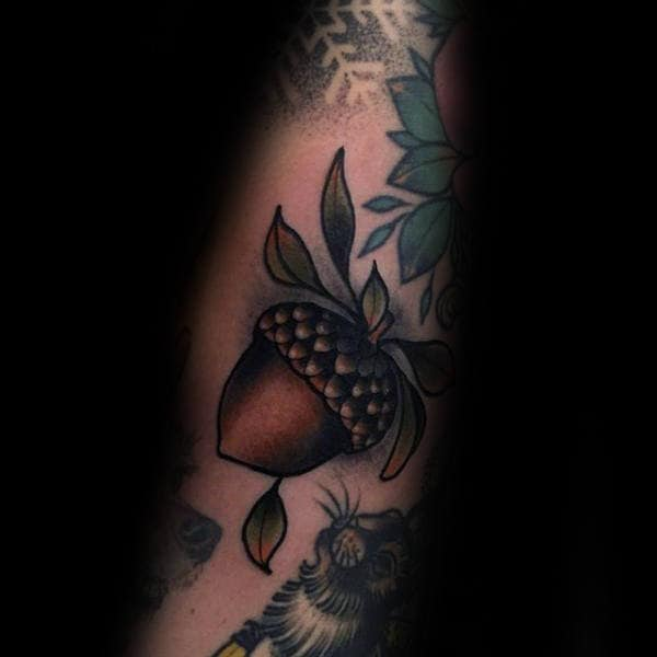 Brown Acorn Mens Arm Tattoos