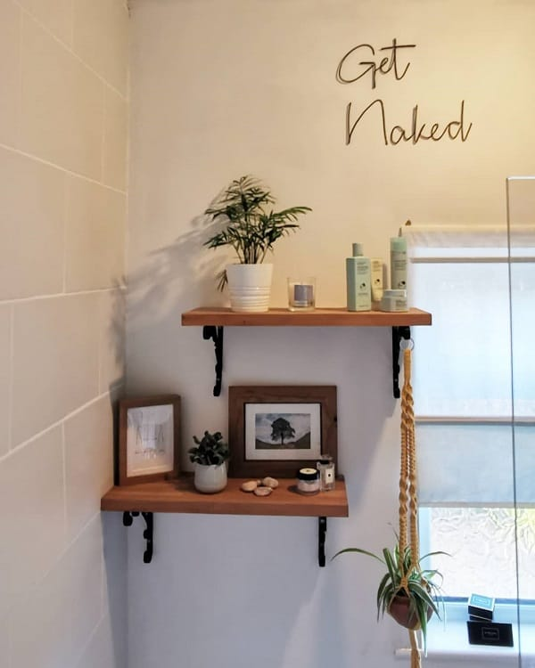 Brown And Black Bathroom Shelf Brackets Through Keyhole 11