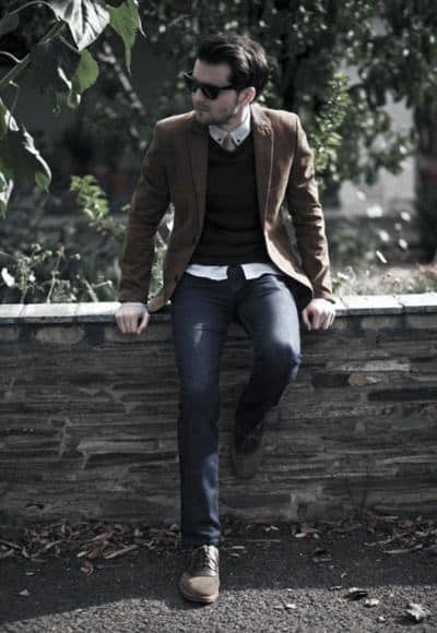 Brown Blazer With Jeans Fall Outfits Mens Styles
