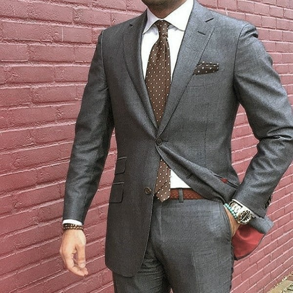 Brown Dot Tie Fashionable Male Grey Suit Styles