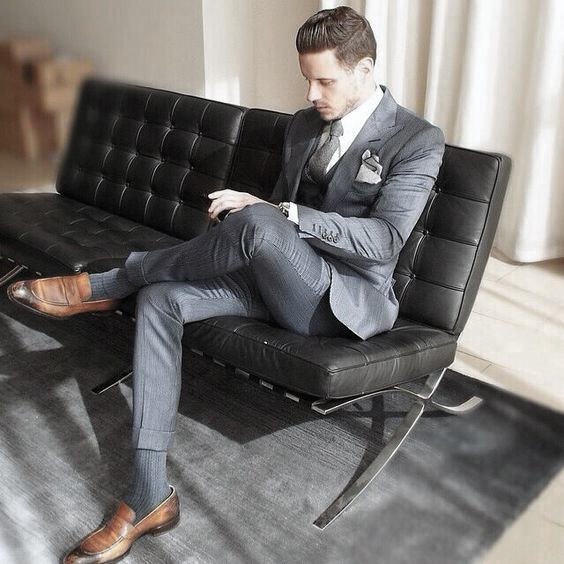 Brown Dress Shoes Mens Navy Blue Suit Styles