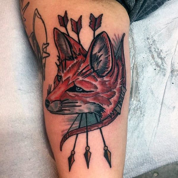Brown Fox With Three Piercing Arrows Tattoo Male Arms