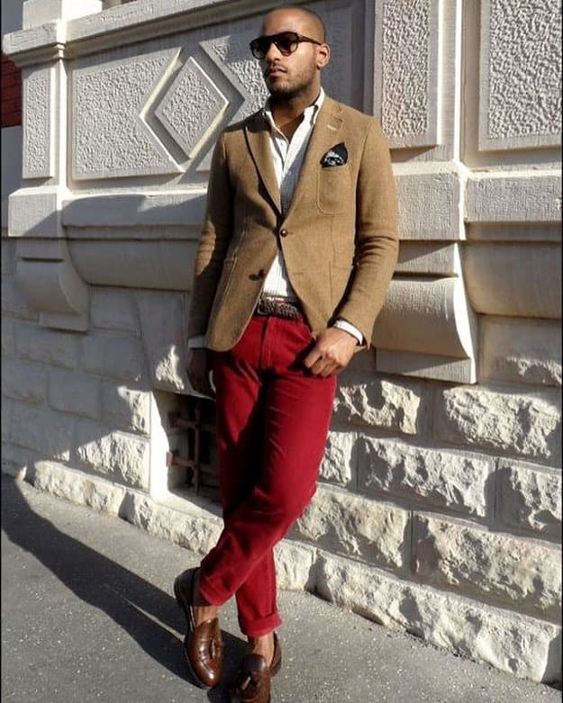 Brown Jacket Red Pants Mens Wear