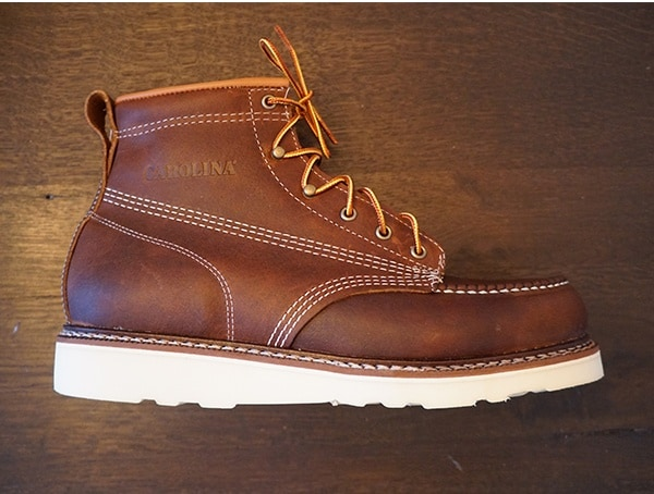 Brown Leather Carolina 6 Inch Wedge Sole Work Boots For Men