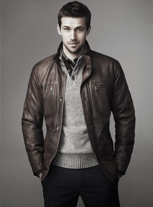 Brown Leather Jacket Grey Sweater Handsome Winter Outfits Style Ideas For Guys