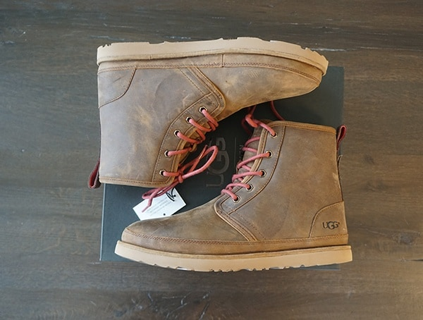 Brown Leather With Red Laces Ugg Harkley Mens Boots