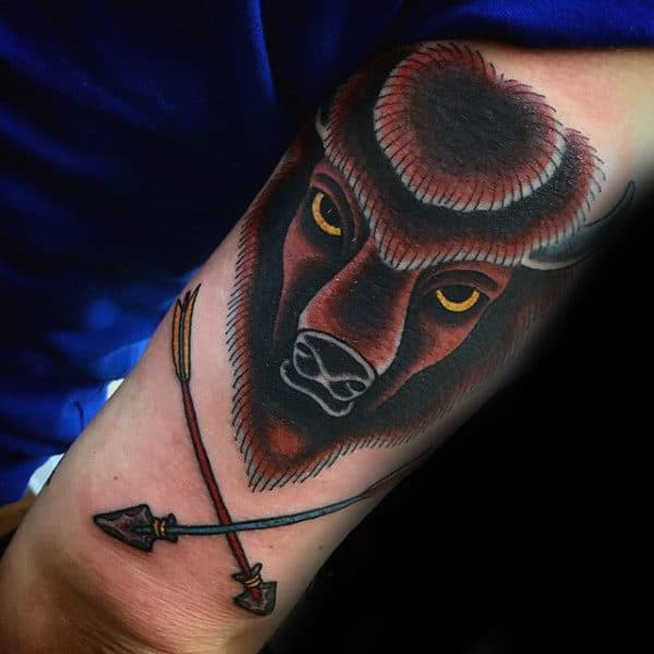 Brown Mens Buffalo Bison Tricep Tattoo