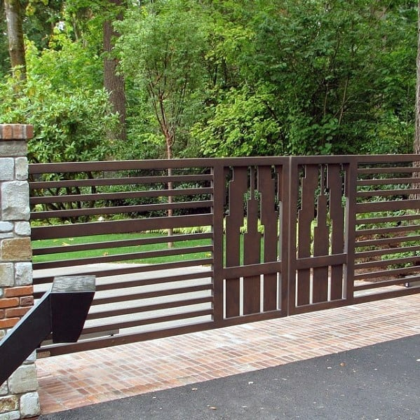 Brown Painted Steel Driveway Gate Ideas