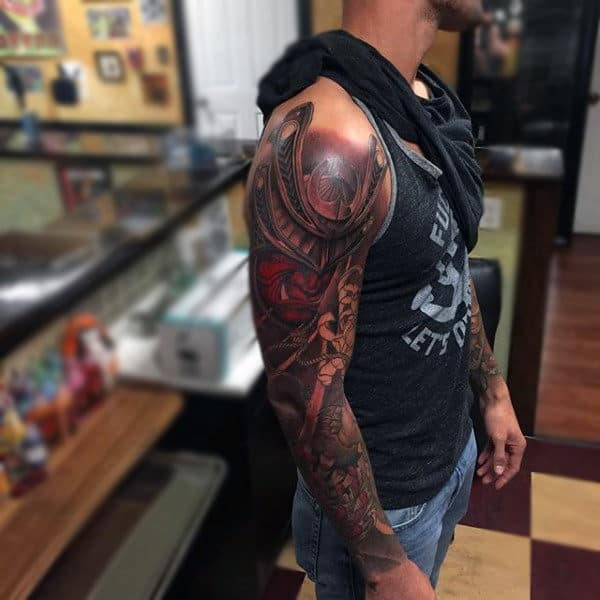 Brown Shaded Gorgeous Warrior Tattoo Male Sleeves