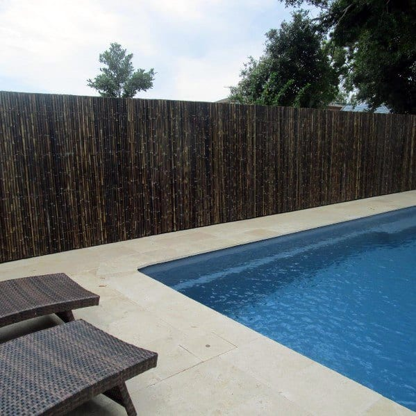 Brown Stained Bamboo Nice Pool Fence Backyard Ideas