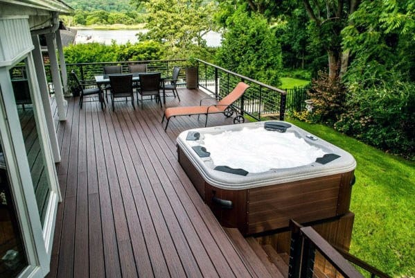 Brown Stained Wood Backyard Hot Tub Deck Design