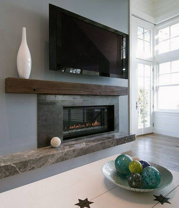 Brown Wood Beam Fireplace Mantel Design