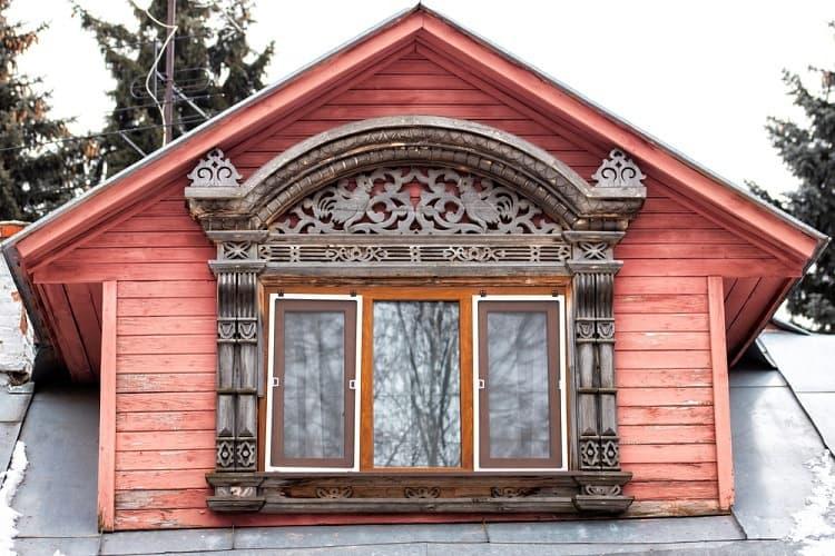 Brown Wooden Ornate Exterior Window Trim