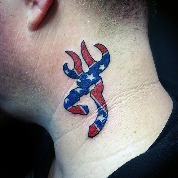Browning Confederate Flag Neck Tattoo On Man