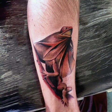 Brownish Iguana Tattoo On Forearms For Guys