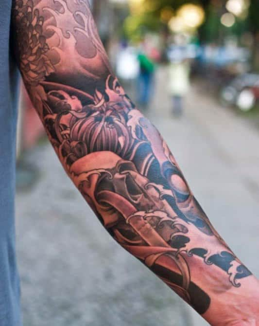 Brownish Japanese Sleeve Tattoo For Males