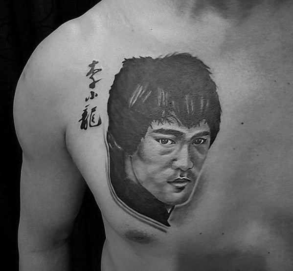 Bruce Lee Mens Tattoo Ideas Upper Chest