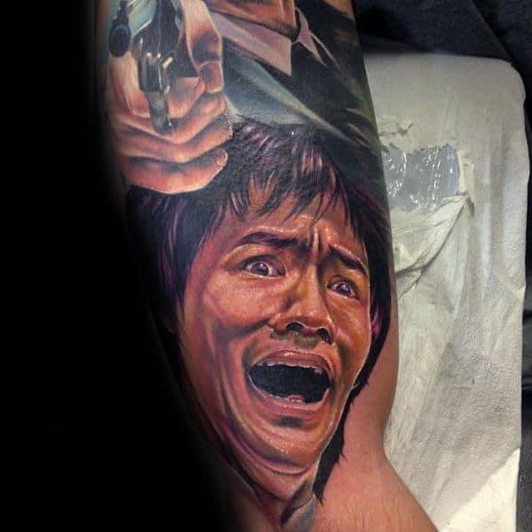 Bruce Lee Tattoo Design On Man On Arm