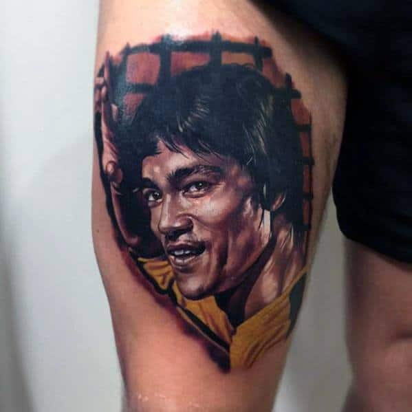 Bruce Lee Tattoo Designs For Guys On Thigh Of Leg