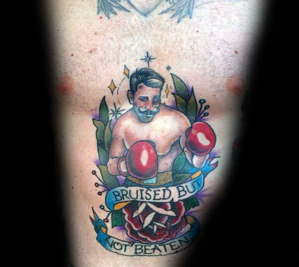 Bruised But Not Beaten Banner Traditional Boxer Male Chest Tattoos