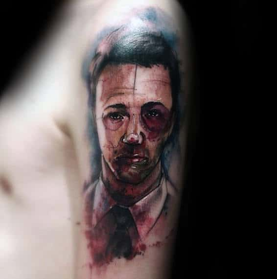 Bruised Up Tyle Durden Fight Club Mens Upper Arm Tattoo With Watercolor Design