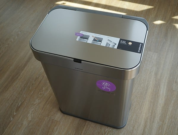 Brushed Stainless Steel Front Simple Human 58 Liter Rectangular Trash Can