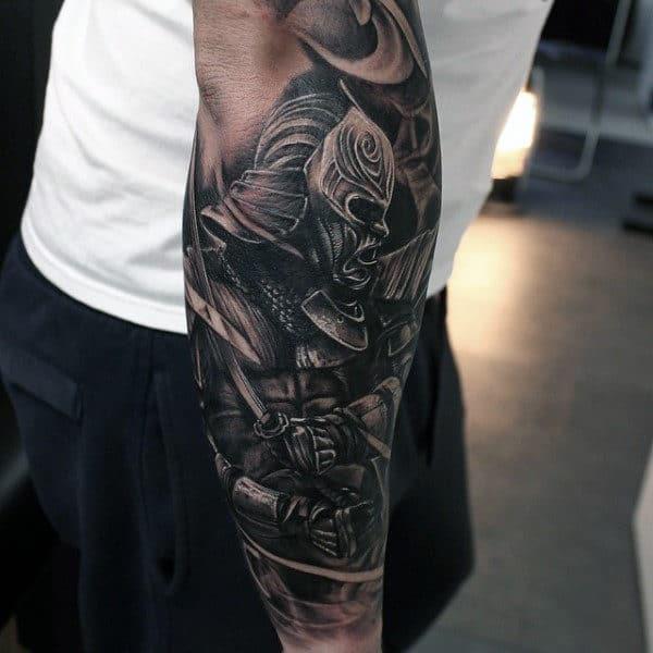 Brutal Samurai Warrior Tattoo Guys Forearm